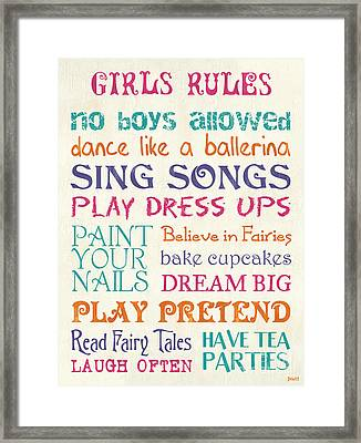 Girls Rules Framed Print by Debbie DeWitt