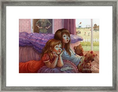 Girls Staring At Tv Framed Print by Isabella Kung