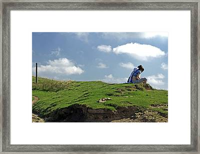 Girls Taking A Break At Hollins Cross Framed Print by Rod Johnson