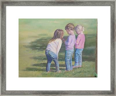 Girls Texting Framed Print