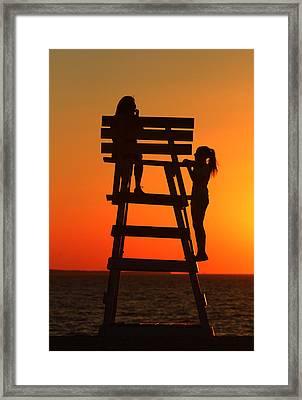 Girls West Meadow Beach New York Framed Print
