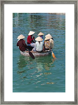 Girls With Conical Hats In Bamboo Framed Print by Keren Su