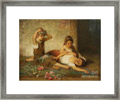 Girls With Flowers Framed Print by Celestial Images