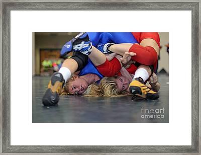 Girls Wrestling Competition Framed Print