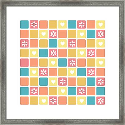 Framed Print featuring the digital art Girly Heart Square Pattern Retro Daisy Flowers by Tracie Kaska
