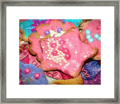 Framed Print featuring the painting Girly Pink Frosted Sugar Cookies by Tracie Kaska