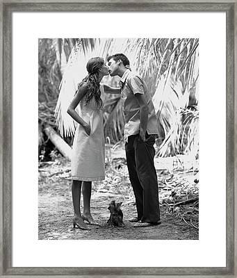 Gisele Bundchen Kissing A Young Man Framed Print