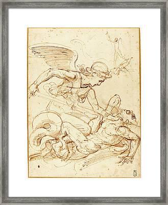 Giulio Romano, Italian 1499-1546, Saint Michael Framed Print by Litz Collection