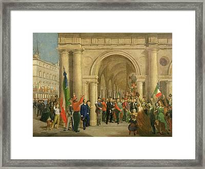 Giuseppe Garibaldi In Vicenza, 7th March 1867 Oil On Canvas Framed Print by Italian School
