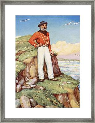 Giuseppe Garibaldi On A Cliff-ledge Framed Print by Arthur A. Dixon