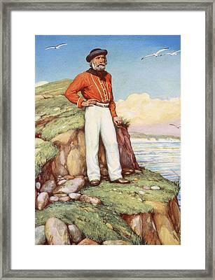 Giuseppe Garibaldi On A Cliff-ledge Framed Print by Arthur A. Dixon
