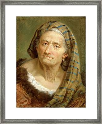 Giuseppe Nogari, An Elderly Woman In A Striped Shawl Framed Print by Litz Collection