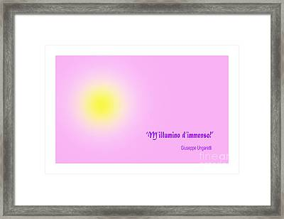Giuseppe Ungaretti Famous Poem Framed Print by Enrique Cardenas-elorduy