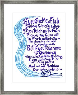 Give Me A Fish Framed Print by Ricardo Levins Morales