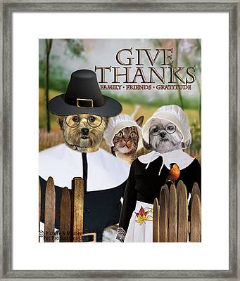 Framed Print featuring the digital art Give Thanks by Kathy Tarochione