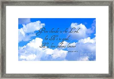 Give Thanks Framed Print by Rachel Munoz Striggow