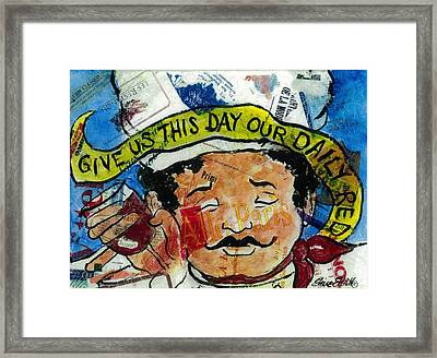 Give Us This Day Our Daily Red Framed Print