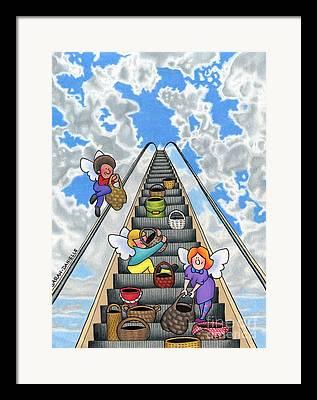 Escalator Drawings Framed Prints