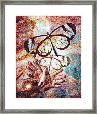 Giving Transforms The Giver Framed Print by Robert Silvers Photomosaic from Anne Watson Composition