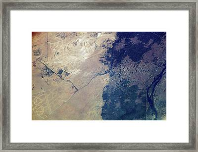 Giza Plateau And Cairo Framed Print