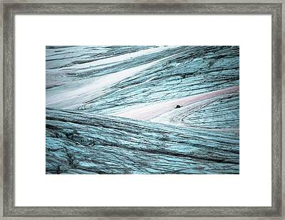 Glacial Crevasses And Pink Algae Blooms Framed Print by Peter J. Raymond