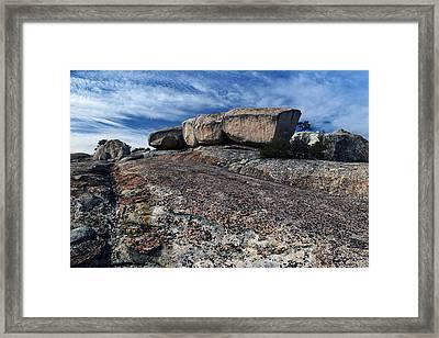 Glacial Eratic On Bald Rock Dome Framed Print