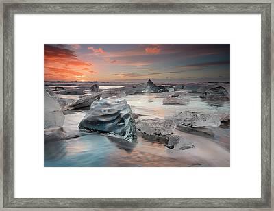 Glacial Lagoon Beach Framed Print