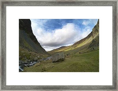 Glacial Valley At Honister Pass Framed Print by Sinclair Stammers