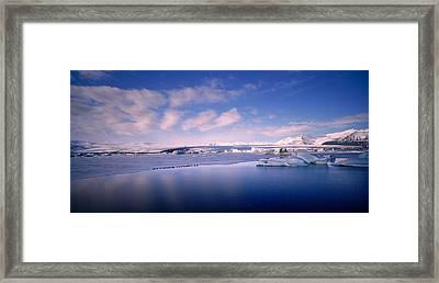 Glacier Floating On Water, Jokulsarlon Framed Print by Panoramic Images