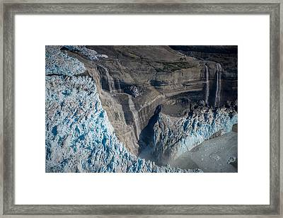 Glacier Icefall And Waterfalls Framed Print
