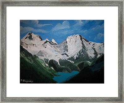 Framed Print featuring the painting Glacier Lake by Sharon Duguay