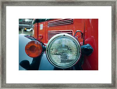Glacier Red Jammer Headlight Framed Print by Bruce Gourley