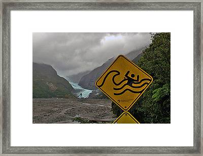 Glacier Warning Framed Print by Jean Hall
