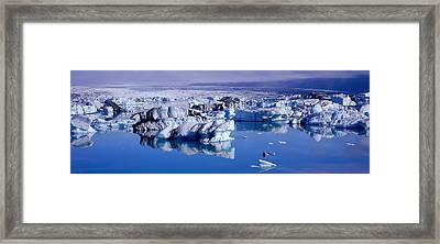 Glaciers Floating On Water, Jokulsa Framed Print