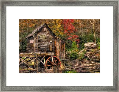 Glade Creek Grist Mill-1a Babcock State Park Wv Autumn Late Afternoon Framed Print by Michael Mazaika