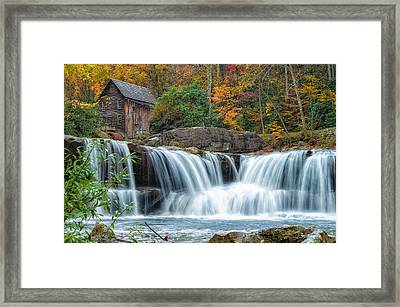 Glade Creek Grist Mill And Waterfalls Framed Print