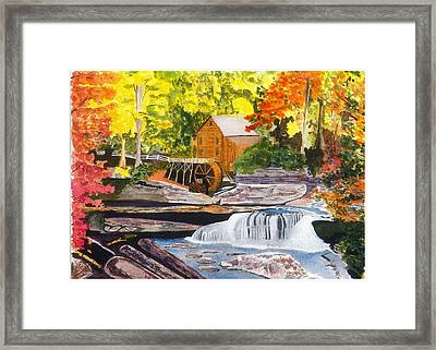 Glade Creek Grist Mill Framed Print by David Bartsch