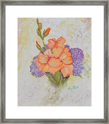 Gladioli And Hydrangea Framed Print by Aileen McLeod
