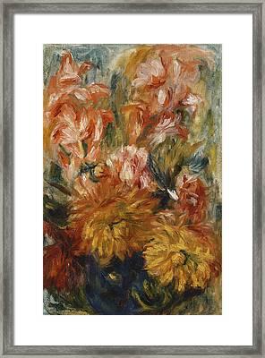 Gladioli In A Blue Vase Framed Print by Pierre Auguste Renoir