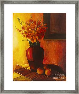 Gladioli Red Framed Print by Marlene Book