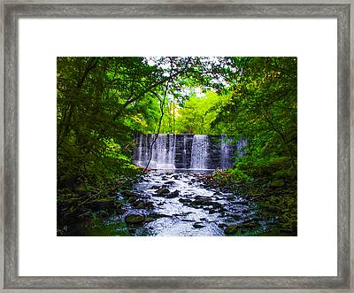 Gladwyne Waterfall In Spring Framed Print