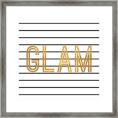 Glam Pinstripe Gold Framed Print by South Social Studio