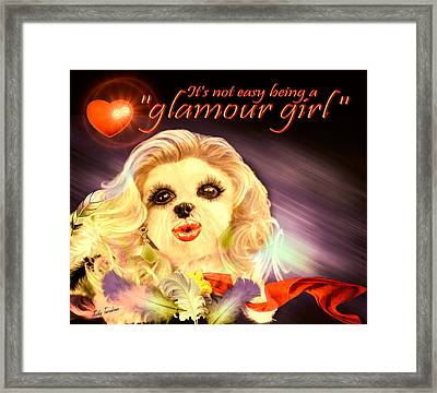 Framed Print featuring the digital art Glamour Girl-1 by Kathy Tarochione
