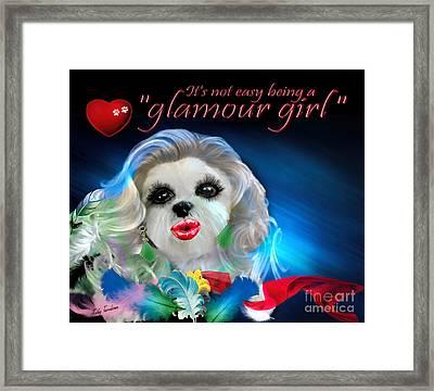 Framed Print featuring the digital art Glamour Girl-3 by Kathy Tarochione