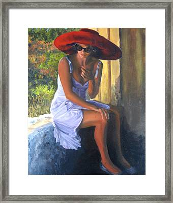 Glamour Of A Red Hat Framed Print by Connie Schaertl