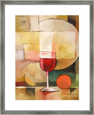 Glas Of Red Framed Print by Lutz Baar