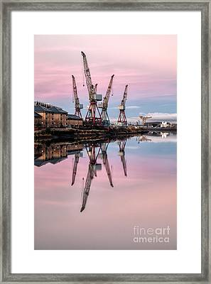 Glasgow Cranes With Belt Of Venus Framed Print by John Farnan