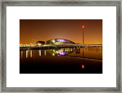 Glasgow Science Centre On A Tofee Coloured Sky Framed Print