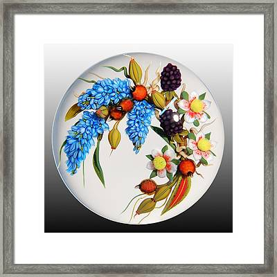 Glass Berries And Blooms Framed Print