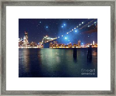 Glass Block Brooklyn Bridge Among The Stars Framed Print by Beverly Claire Kaiya
